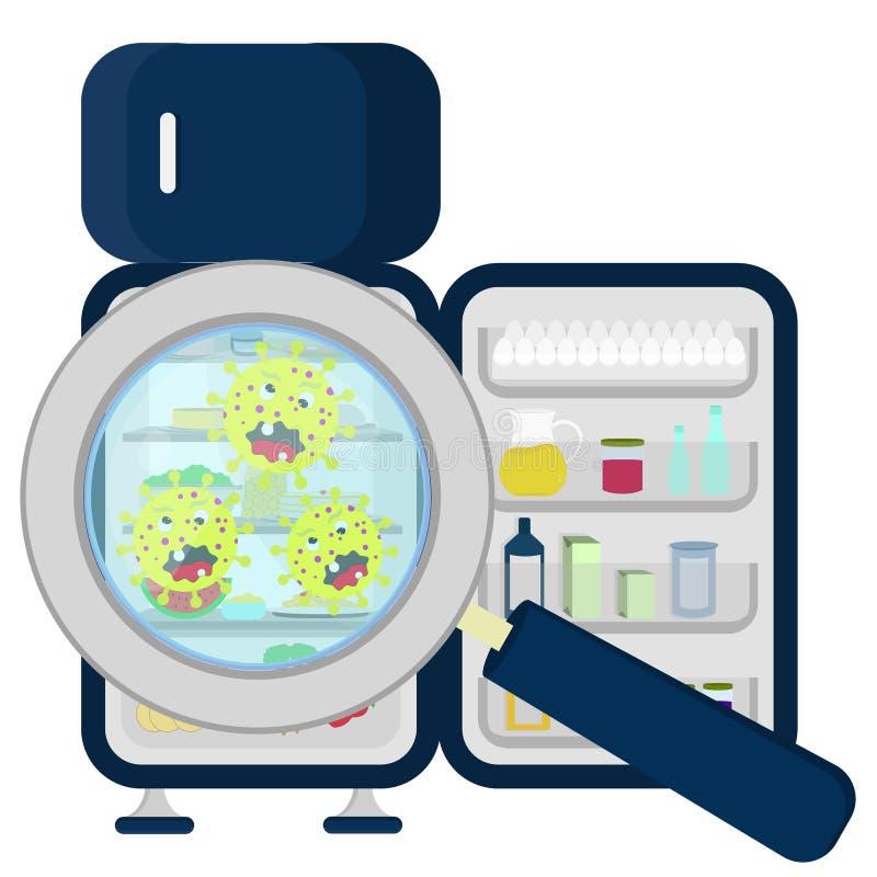 Germi sul frigorifero in pieno illustrazione di stock