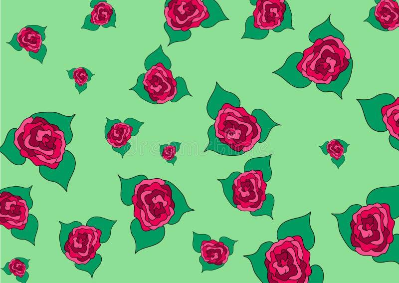 Germogli delle rose della dimensione differente su un fondo verde illustrazione di stock