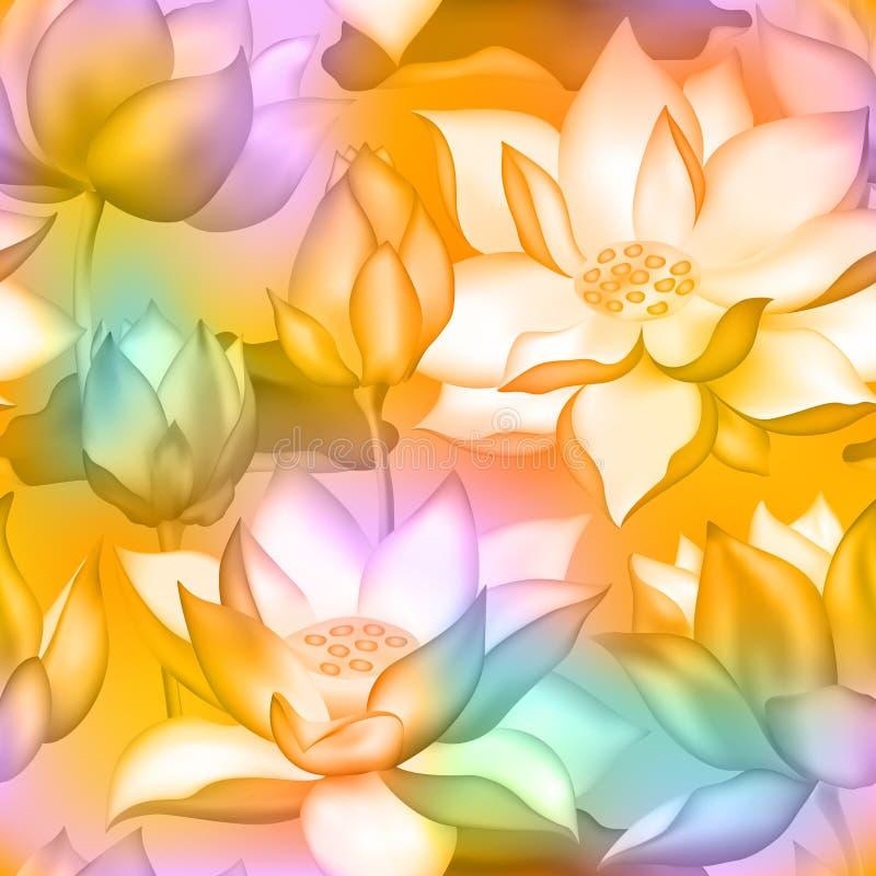 Germogli di Lotus e fondo senza cuciture dei fiori , Dell'acqua progettazione botanica della pianta acquatica del nelumbo lilly royalty illustrazione gratis