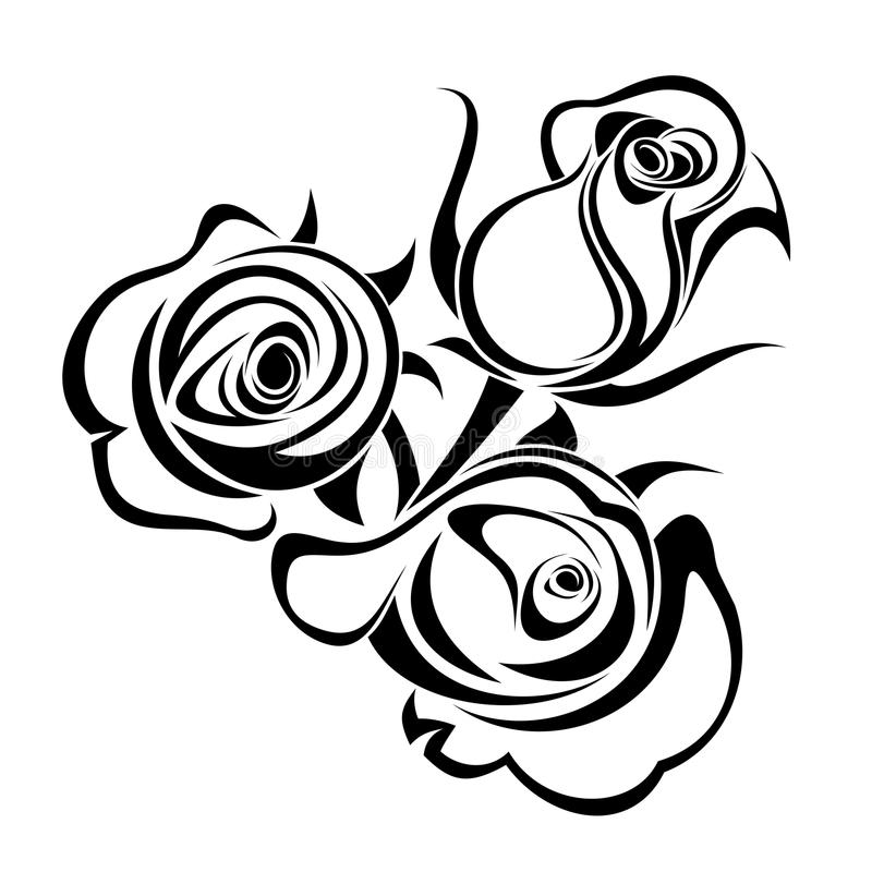 Germogli di Rosa. Siluette nere. illustrazione vettoriale