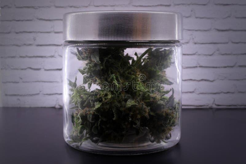 Germogli fragranti della marijuana in barattolo di vetro immagini stock