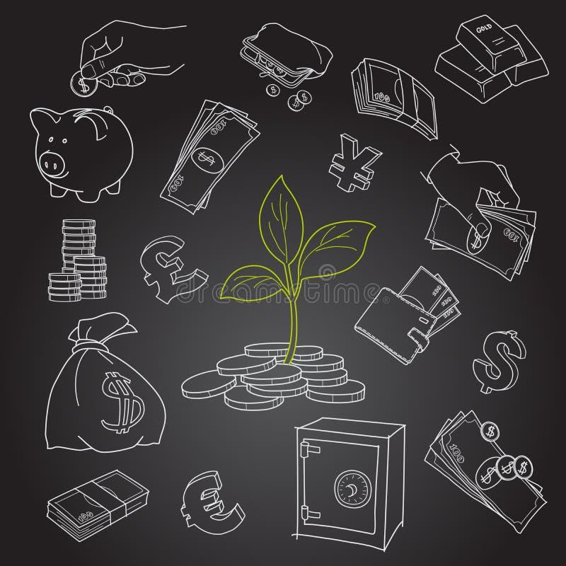 Germoglio dell'albero dei soldi e vettore finanziario di simboli illustrazione vettoriale