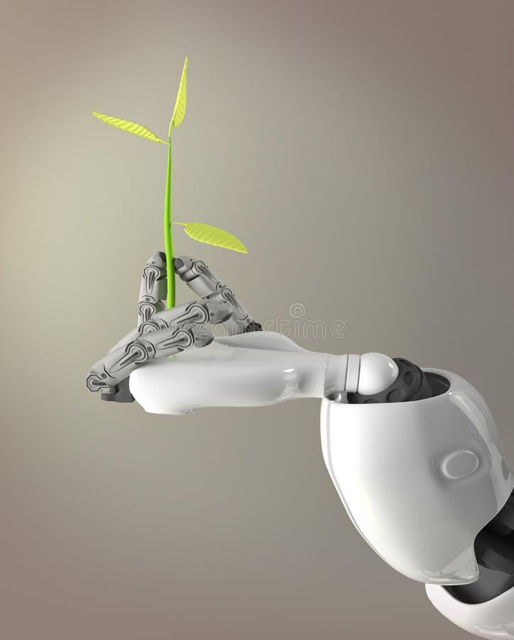 Germoglio della tenuta del braccio del robot, 3d rendere fotografie stock
