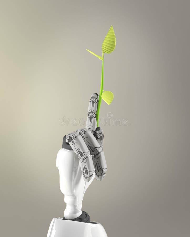 Germoglio della tenuta del braccio del robot, 3d rendere fotografie stock libere da diritti