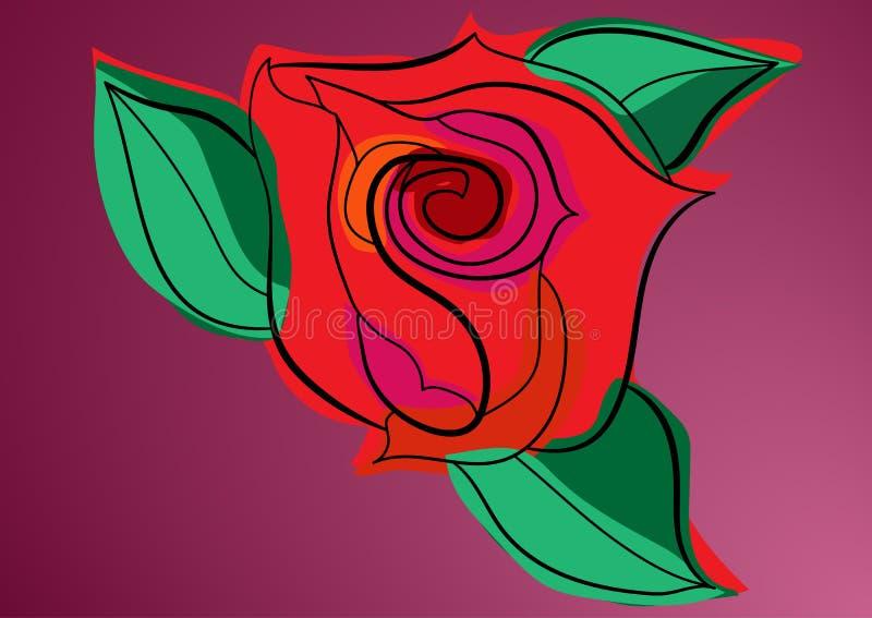 Germoglio di Rosa con le foglie illustrazione di stock