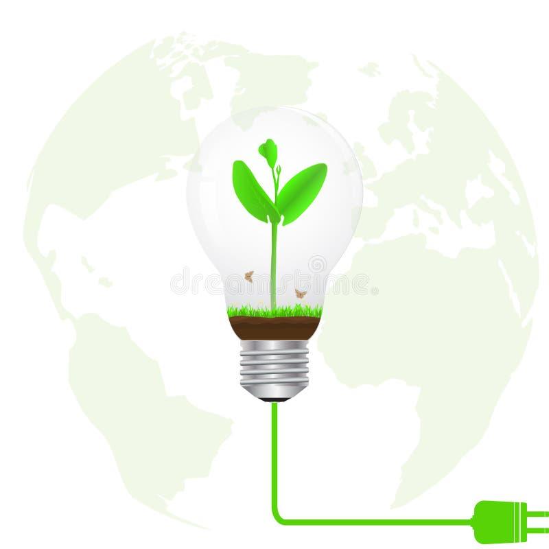 Germoglio verde in lampadina collegata alla spina elettrica sul fondo vago del globo, concetto ambientale di energia verde royalty illustrazione gratis
