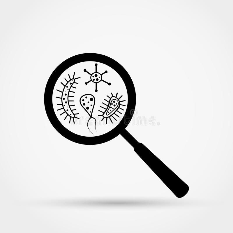 Germs and bacteria under the magnifying glass. royalty free illustration