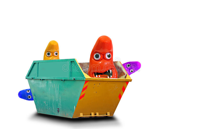 Germs hanging around skip. Conceptual photo of germs/monsters hanging around skip denoting hygiene issues or bad dodgy business deals etc stock photos
