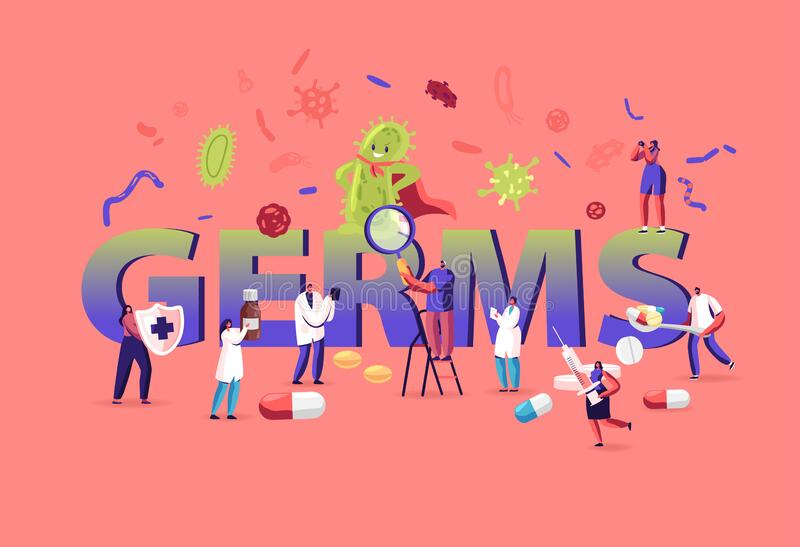 Germs and Viruses Concept. People Protecting from Huge Green Microbe. Male and Female Characters Attack Virus. With Medicine and Vaccine Poster Banner Flyer stock illustration