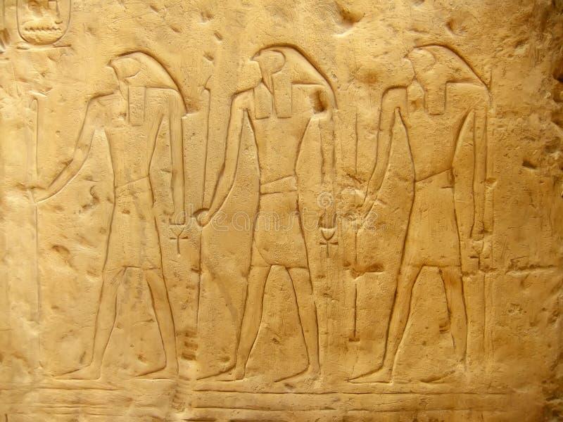 Geroglifici antichi sul museo egiziano dell'esterno dell'esposizione, Il Cairo fotografia stock