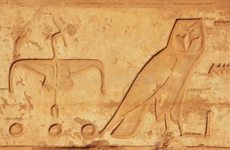 Geroglifici antichi sulle pareti del complesso del tempio di Karnak, lux immagini stock