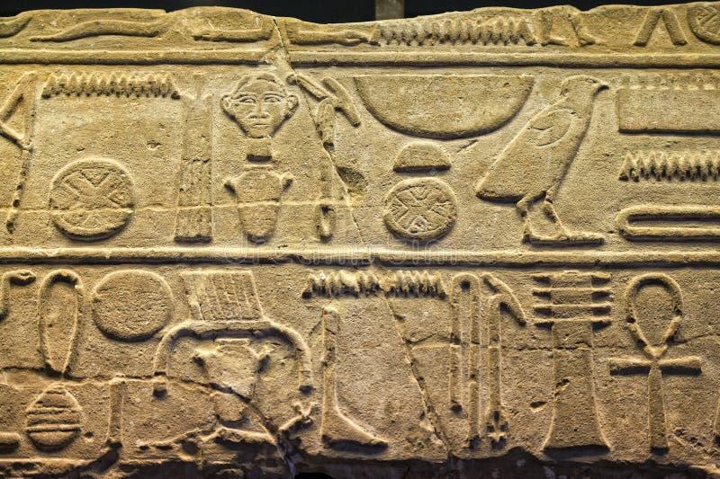 Geroglifici dell'Egitto in valle di re fotografia stock