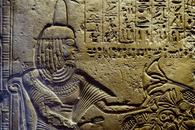 Geroglifici dell'Egitto in valle di re fotografia stock libera da diritti