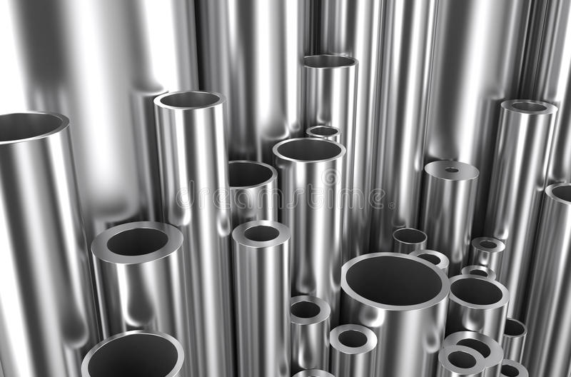 Gerold metaal, assortimentspijpen stock illustratie