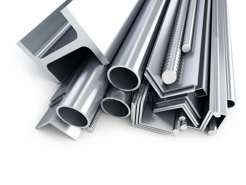 Gerolde metaalproducten, metaalpijpen, hoeken, kanalen, vierkanten royalty-vrije illustratie