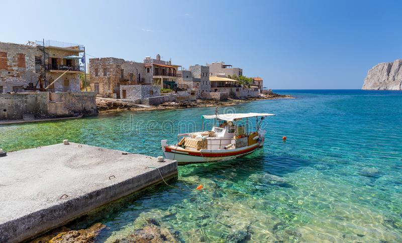 Gerolimenas coastal village in Mani, Peloponnese, Greece. Gerolimenas is a picturesque small coastal village and a community in the municipal unit of Oitylo, at royalty free stock photography