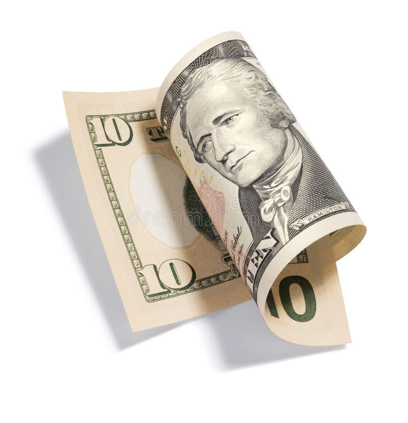 Gerollt 10 Dollarschein lizenzfreie stockfotos