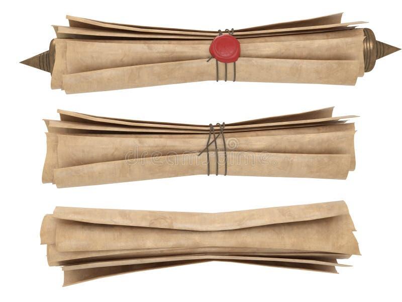 Gerollte alte Papierrolle lokalisiert auf einem weißen Hintergrund Abbildung 3D stock abbildung