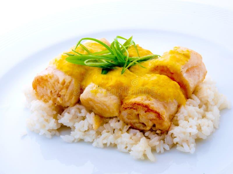 Gerollte feinschmeckerische Fische mit Reis in der weißen Platte lizenzfreies stockbild