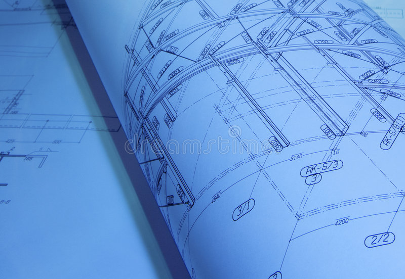 Gerollter Architekturplan stockbilder