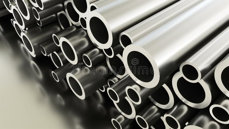 Gerollter rundes Metallindustrieller glänzender Rohrhintergrund, 3d übertragen von den metallischen Gegenständen, geformte Rohre stock abbildung