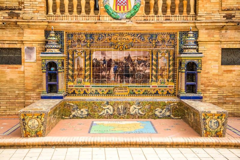 Gerona - een provinciebank in Plaza DE España, Sevilla stock afbeelding