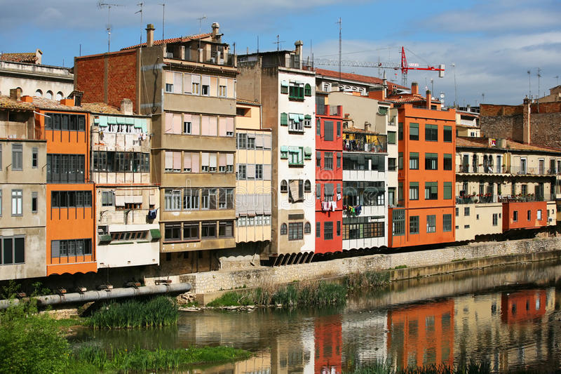 Gerona. Typical view of girona in catalonia the river onyar and the different painted buildings in front of it stock photo