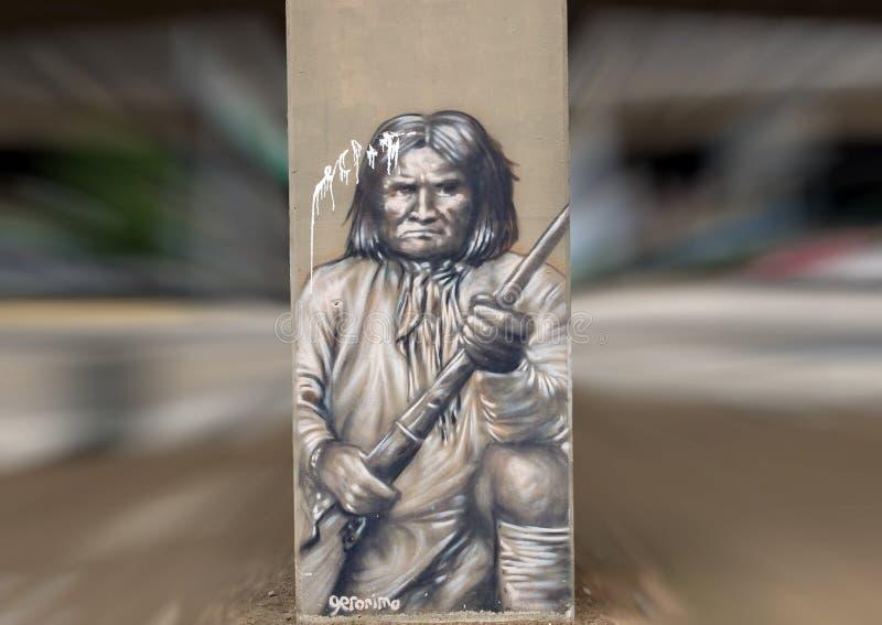 Geronimo uliczna sztuka, Głęboki Ellum, Teksas obraz stock