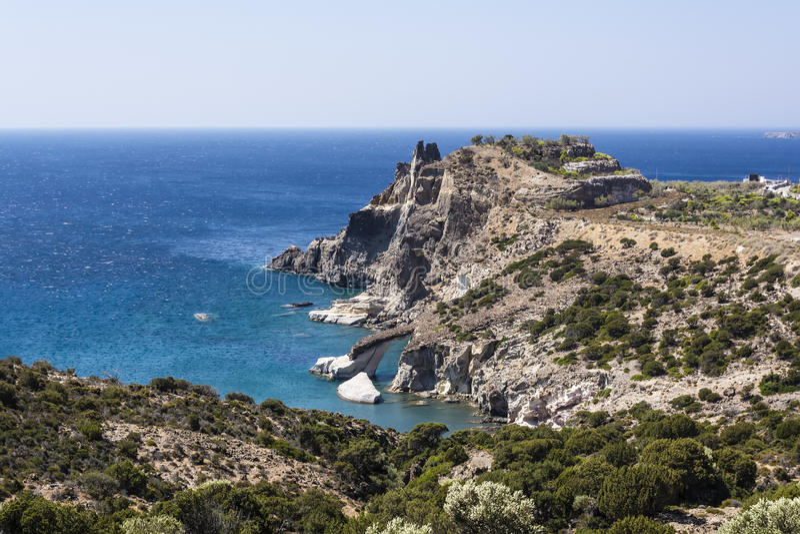 Gerontas beach at Milos island, Cyclades, Greece stock photo