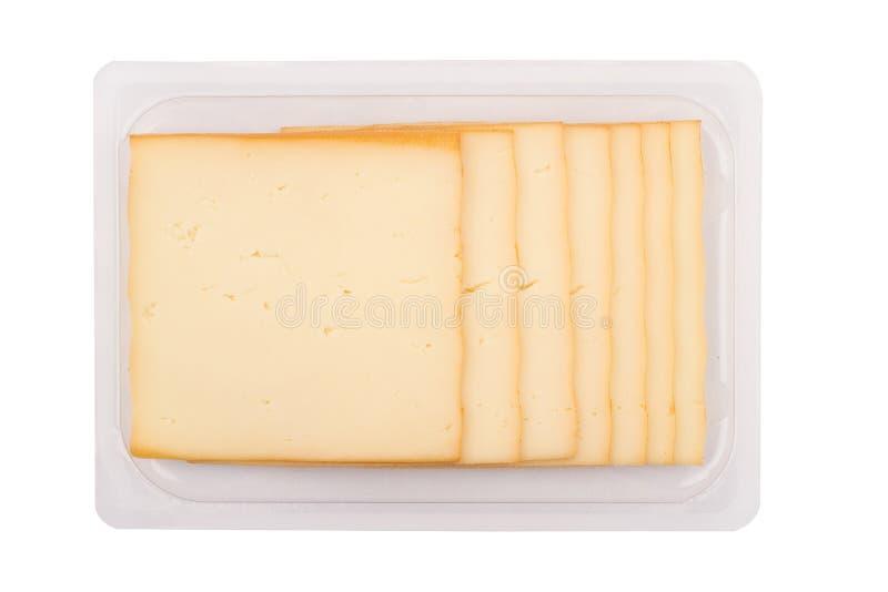 Gerookte kaas verpakking op witte achtergrond royalty-vrije stock foto's