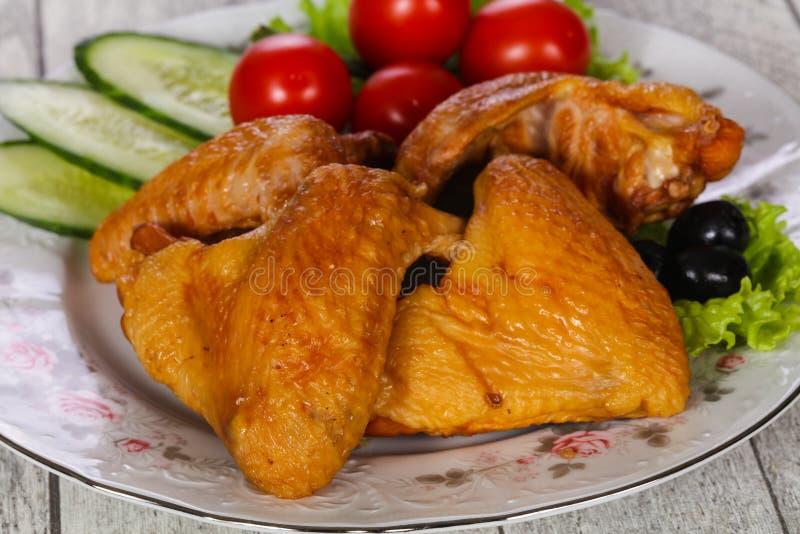 Gerookte kippenvleugels stock foto
