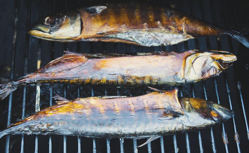 Gerookte vissen in rookhok royalty-vrije stock afbeelding
