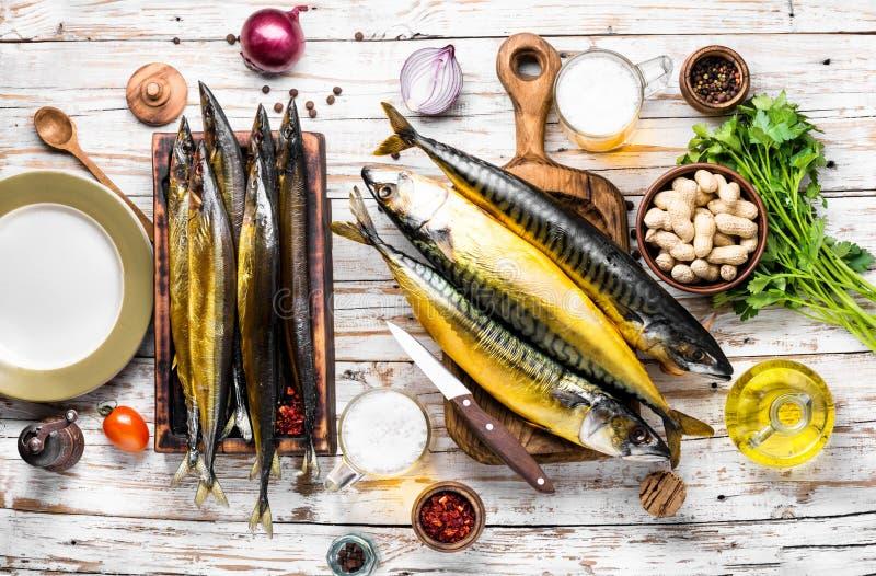 Gerookte vissenmakreel of scomber royalty-vrije stock afbeeldingen
