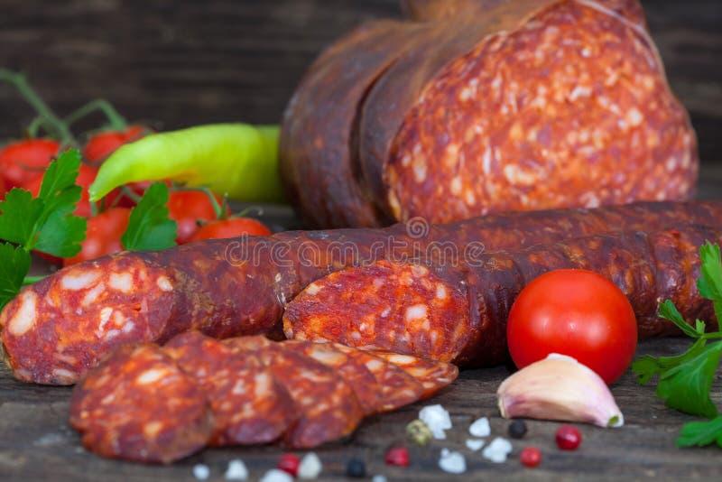 Gerookte worst en salami royalty-vrije stock foto's