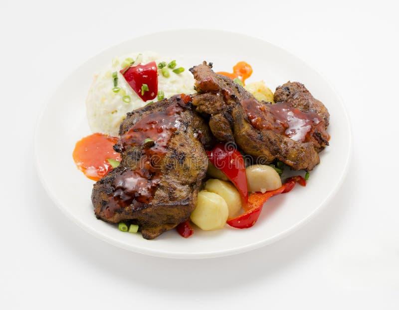 Geroosterd, BBQ kruidige kip stock afbeeldingen