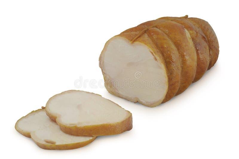 Geroosterd gesneden die kippenbroodje op witte achtergrond wordt geïsoleerd stock afbeeldingen