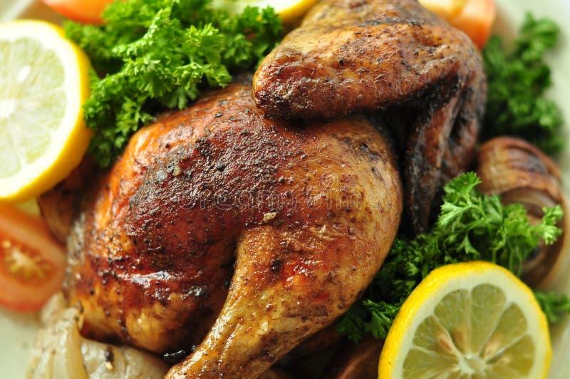Geroosterd Kippen Heerlijk Westelijk Voedsel Als achtergrond stock afbeelding