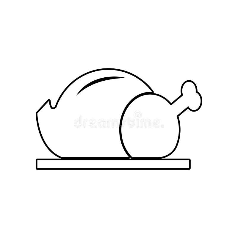 Geroosterd kippenpictogram Element van het eten voor mobiel concept en webtoepassingenpictogram Overzicht, dun lijnpictogram voor stock illustratie