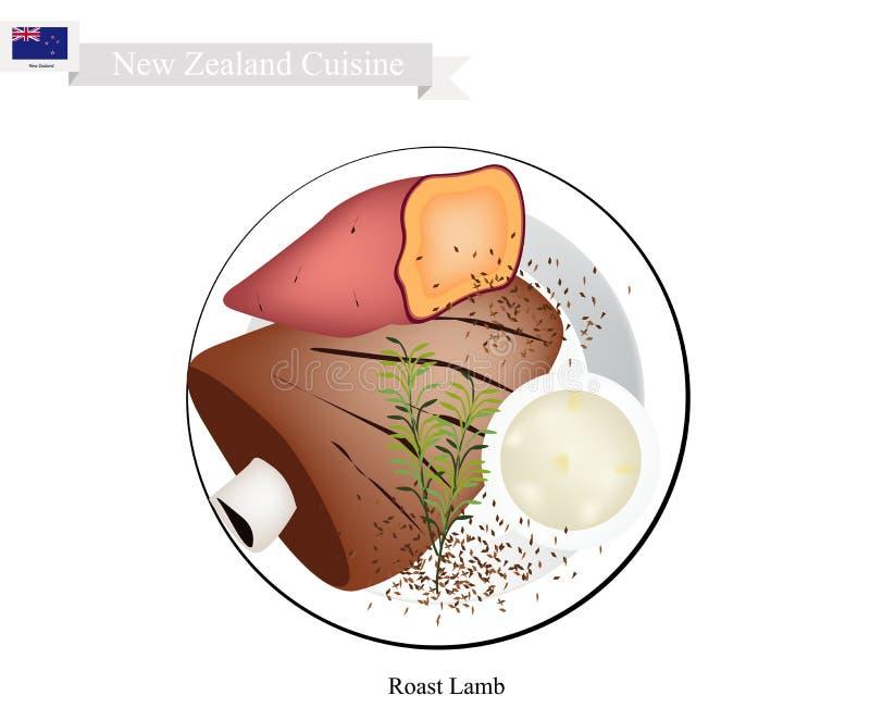 Geroosterd Lam, de Populaire Schotel van Nieuw Zeeland royalty-vrije illustratie