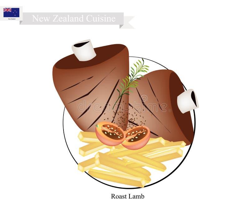 Geroosterd Lam, de Populaire Schotel van Nieuw Zeeland vector illustratie