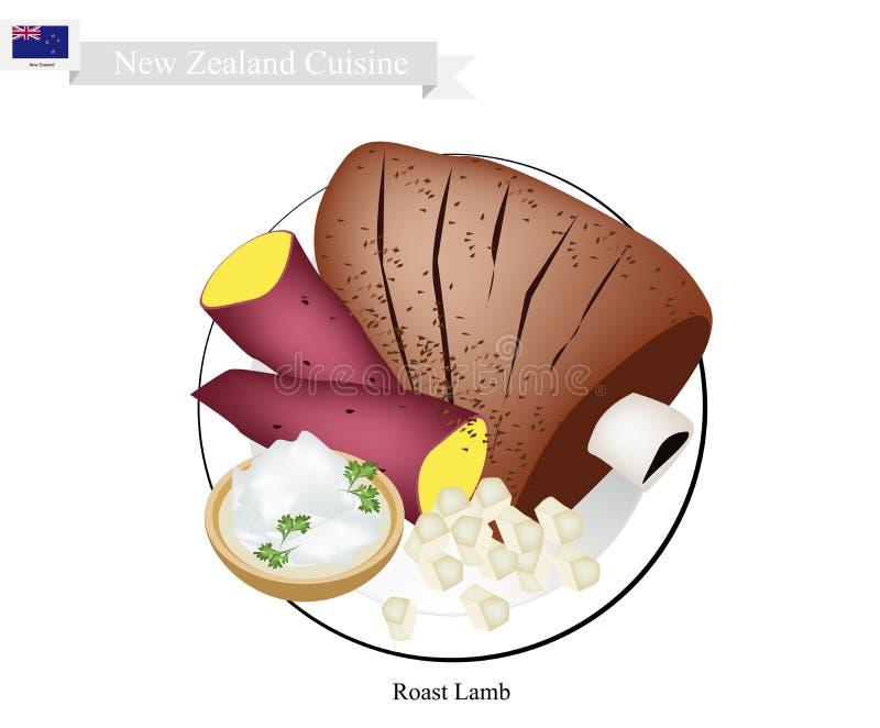 Geroosterd Lam, de Populaire Schotel van Nieuw Zeeland stock illustratie
