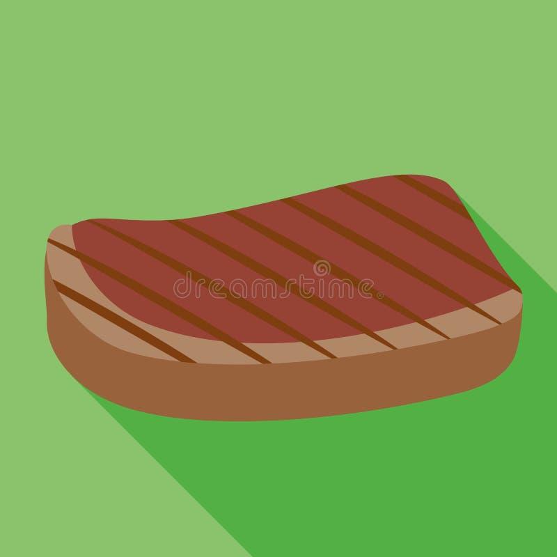Geroosterd lapje vleespictogram, vlakke stijl vector illustratie