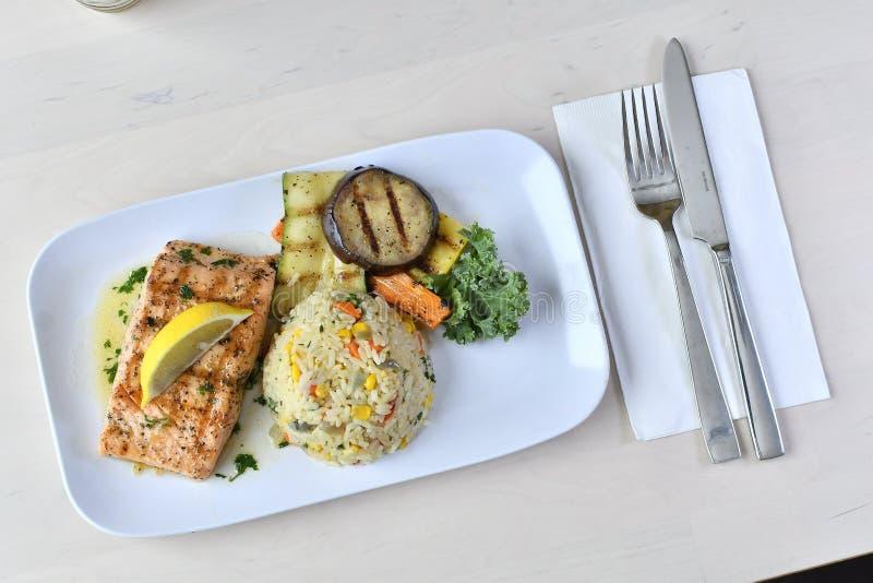 Geroosterd Salmon Meal 2 stock foto