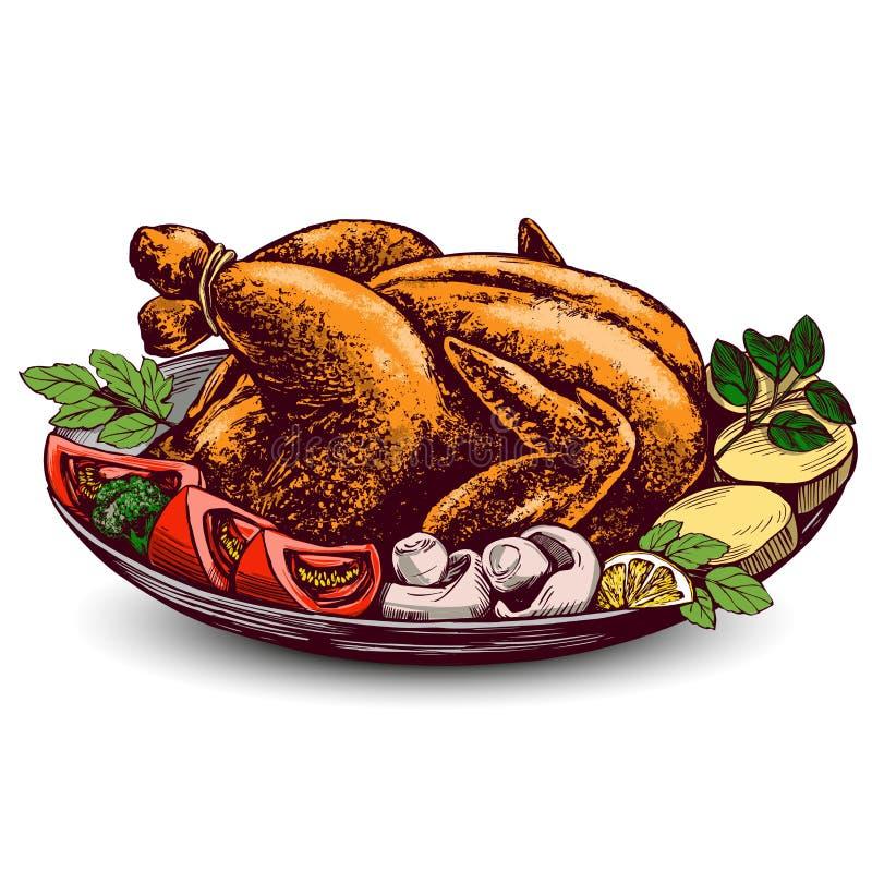 Geroosterd Turkije, kip, met schets van de ingrediënten de hand getrokken vectorillustratie stock illustratie
