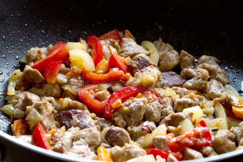 Geroosterd vlees met groenten royalty-vrije stock foto's