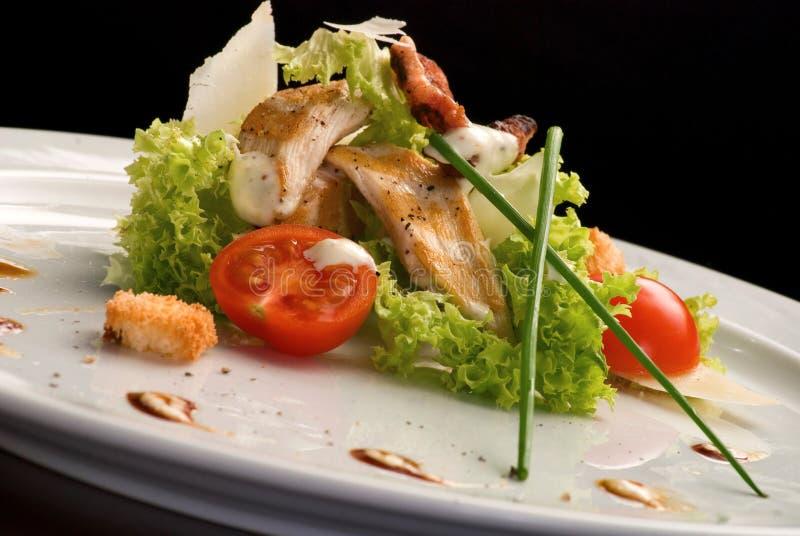 geroosterd vlees met salade en kersentomaten in een witte plaat royalty-vrije stock afbeelding