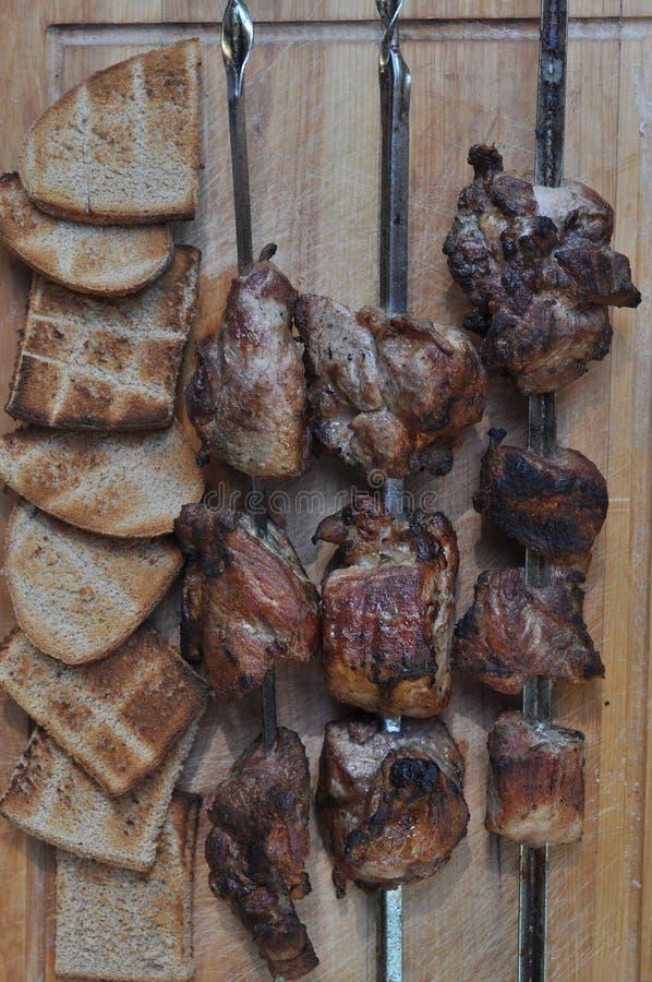 Geroosterd vlees voor diner stock afbeelding