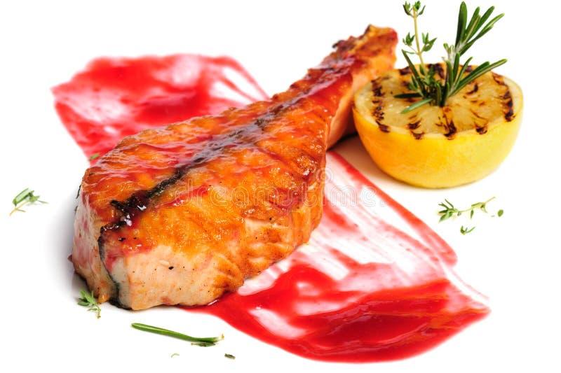 Geroosterd zalmlapje vlees royalty-vrije stock afbeeldingen