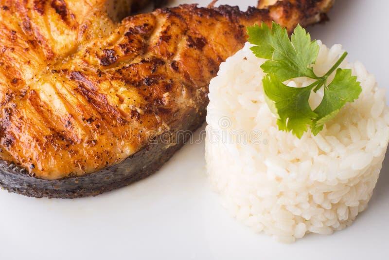 Geroosterd zalmlapje vlees met rijst Receptenachtergrond stock fotografie