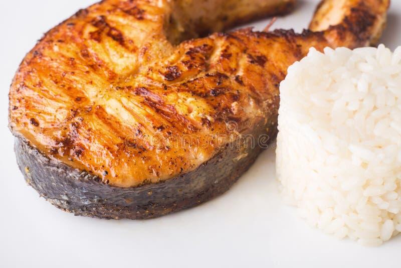 Geroosterd zalmlapje vlees met rijst Receptenachtergrond stock afbeelding